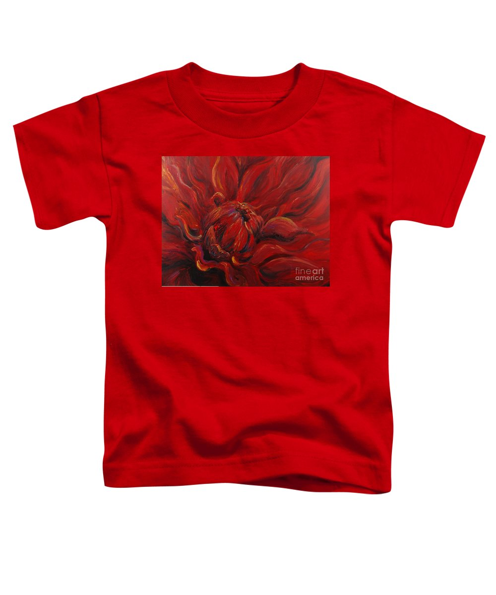 Red Toddler T-Shirt featuring the painting Passion II by Nadine Rippelmeyer