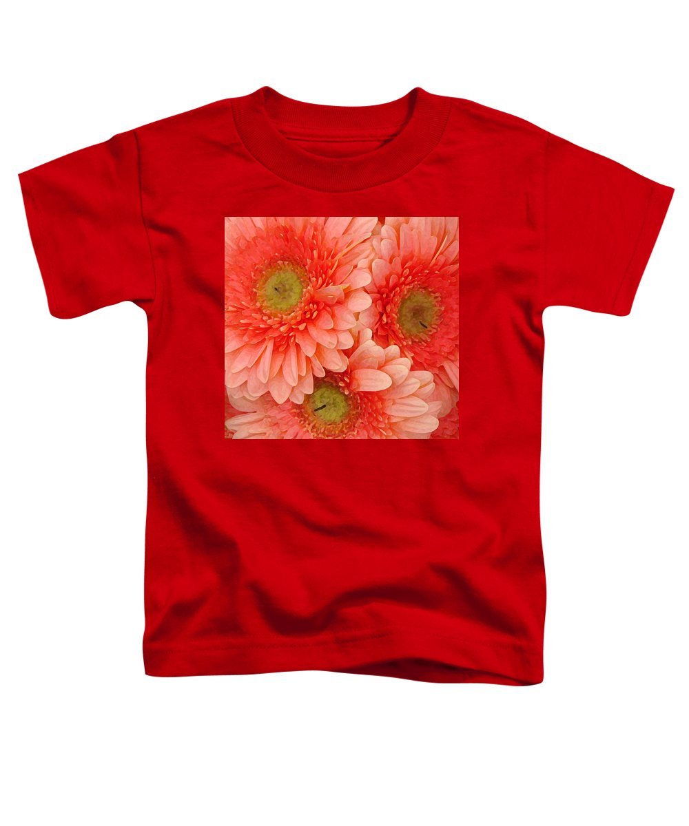 Floral Toddler T-Shirt featuring the painting Peach Gerbers by Amy Vangsgard