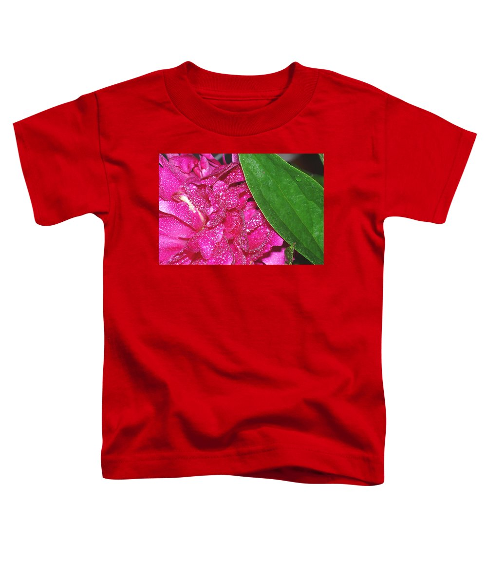 Peony Toddler T-Shirt featuring the photograph Peony And Leaf by Nancy Mueller
