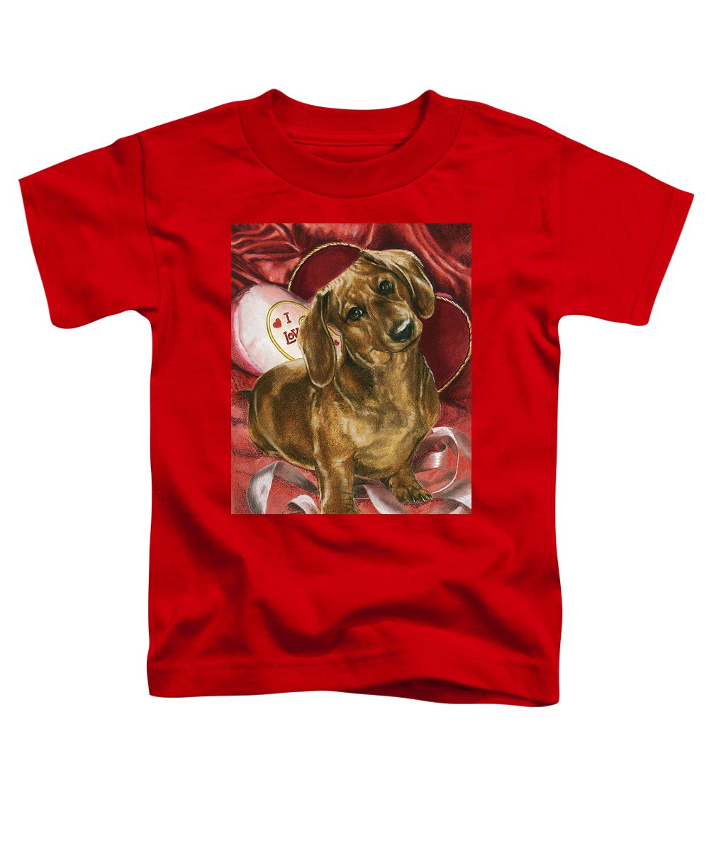 Dogs Toddler T-Shirt featuring the mixed media Please Be Mine by Barbara Keith
