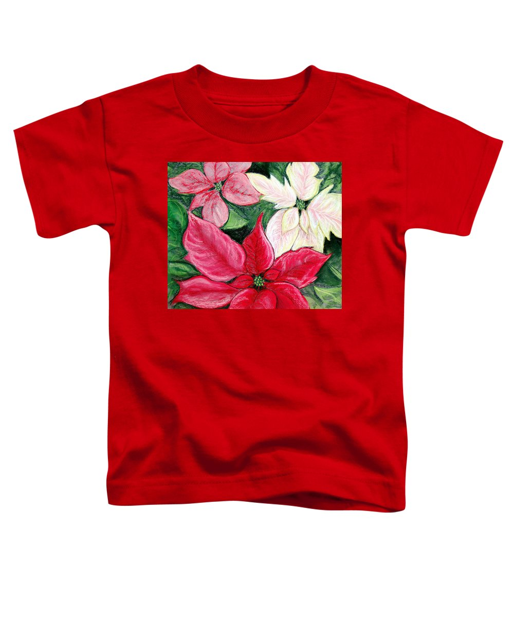 Poinsettia Toddler T-Shirt featuring the pastel Poinsettia Pastel by Nancy Mueller