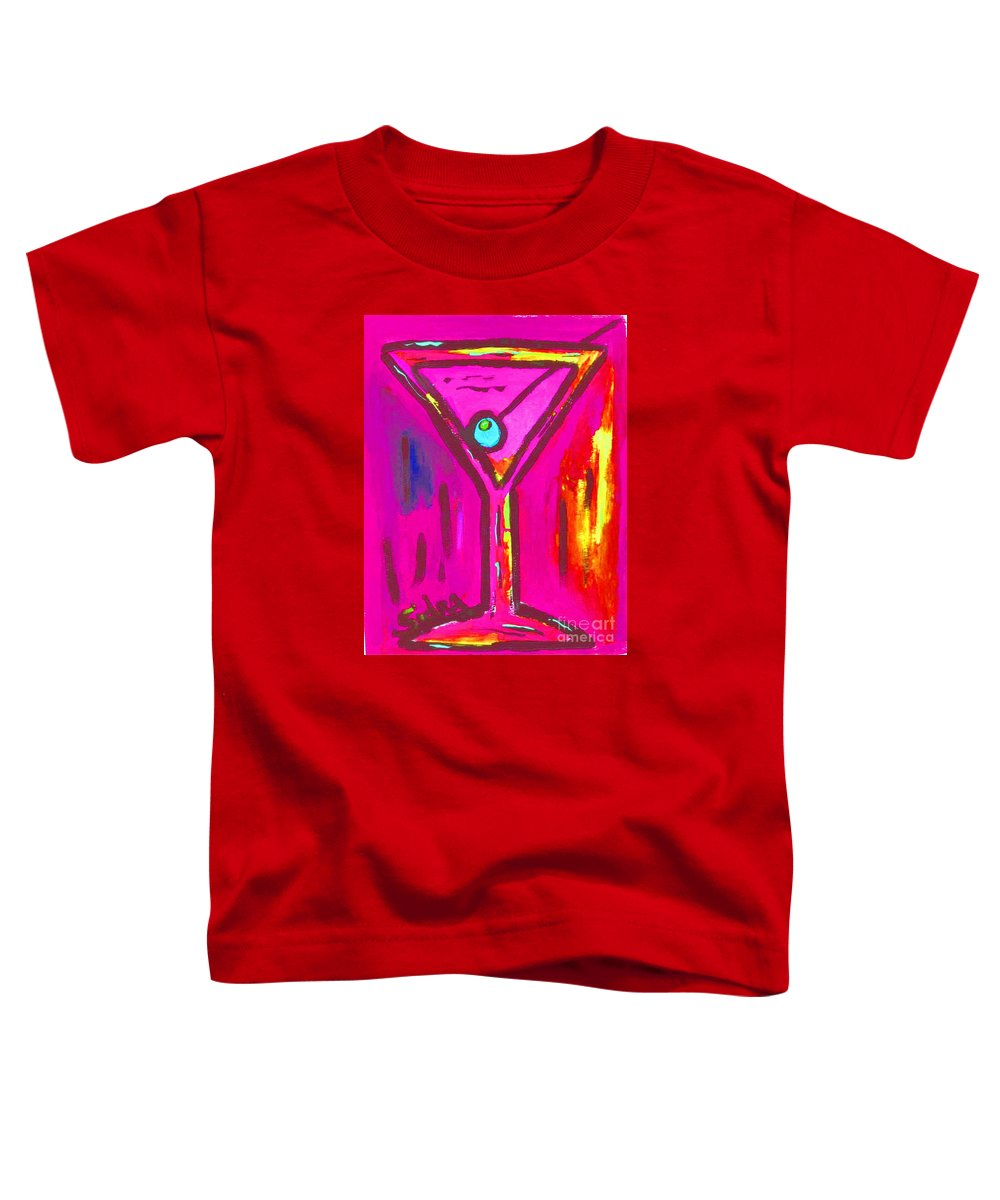 Martini Toddler T-Shirt featuring the painting Pop Art Martini Pink Neon Series 1989 by Sidra Myers