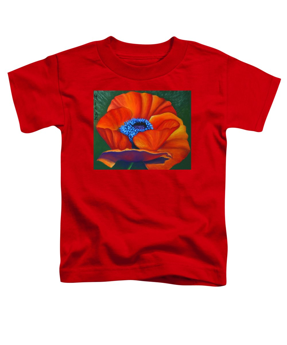 Red Flower Toddler T-Shirt featuring the painting Poppy Pleasure by Minaz Jantz