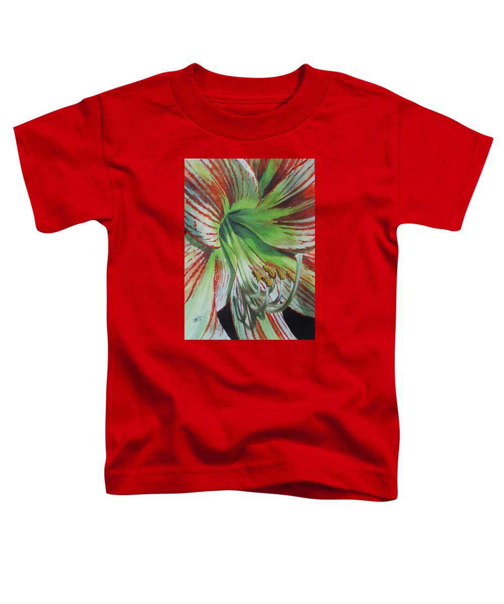 Amaryllis Toddler T-Shirt featuring the painting Precious by Barbara Keith