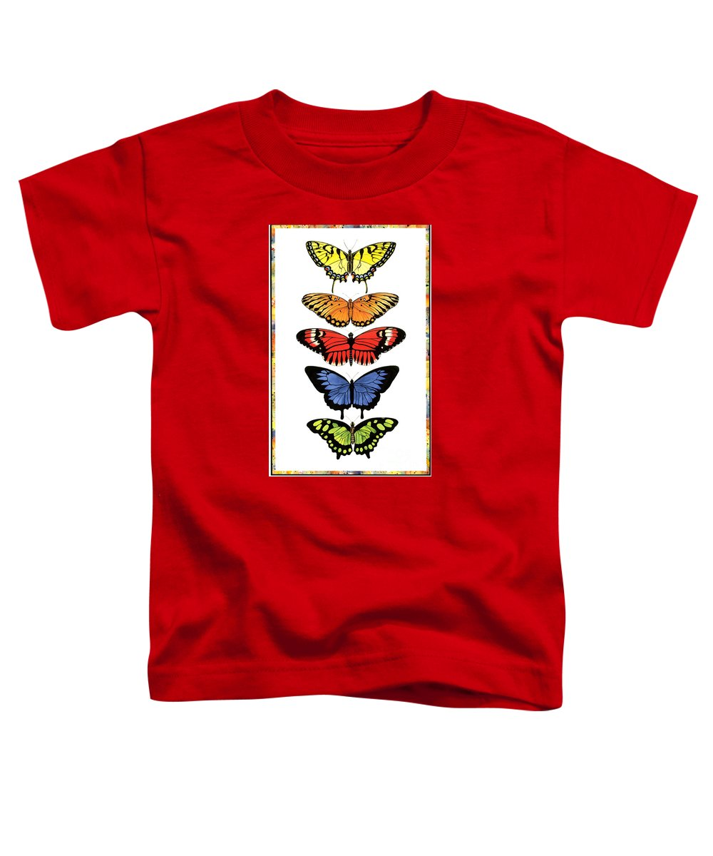 Butterflies Toddler T-Shirt featuring the painting Rainbow Butterflies by Lucy Arnold