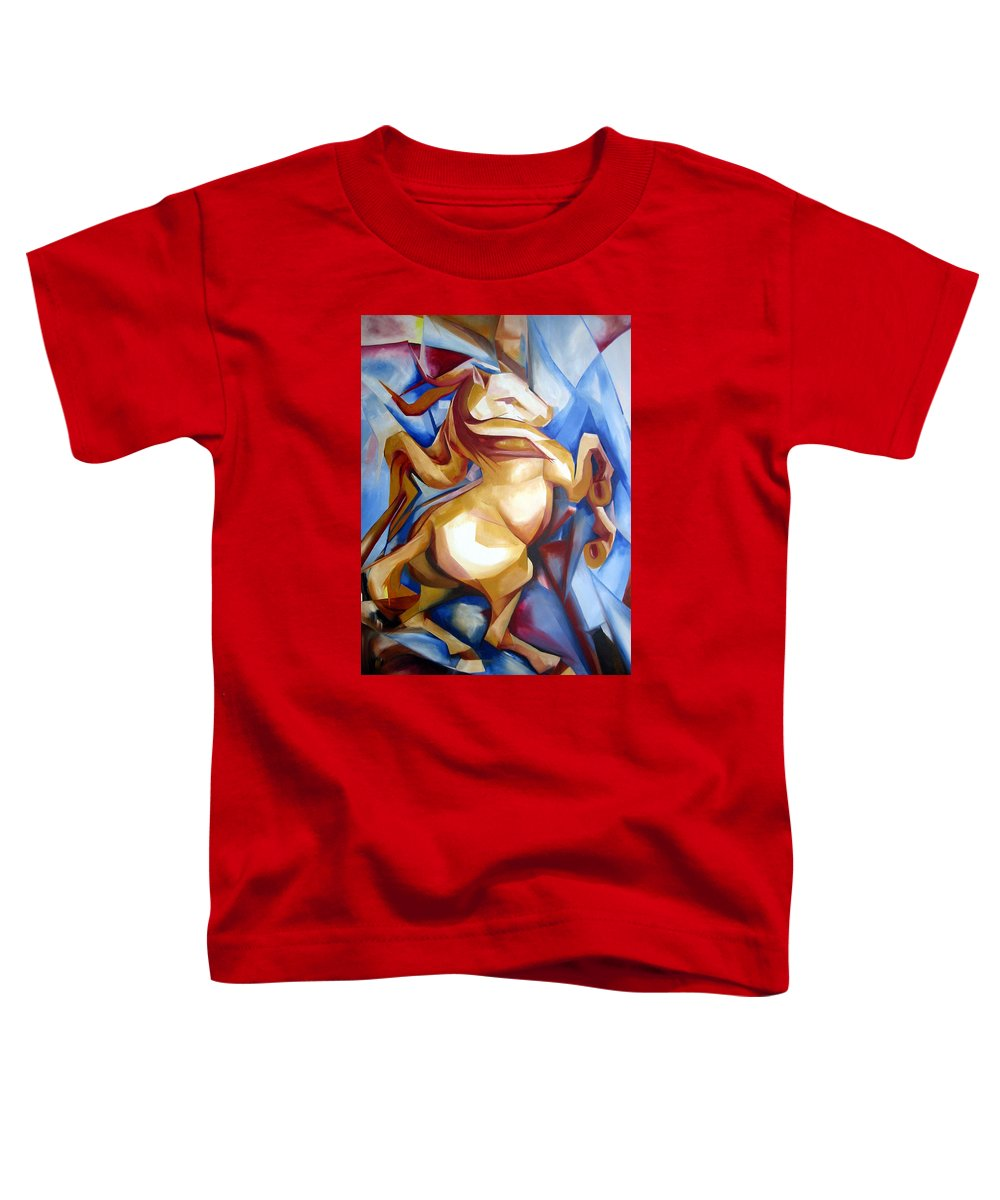 Horse Toddler T-Shirt featuring the painting Rearing Horse by Leyla Munteanu