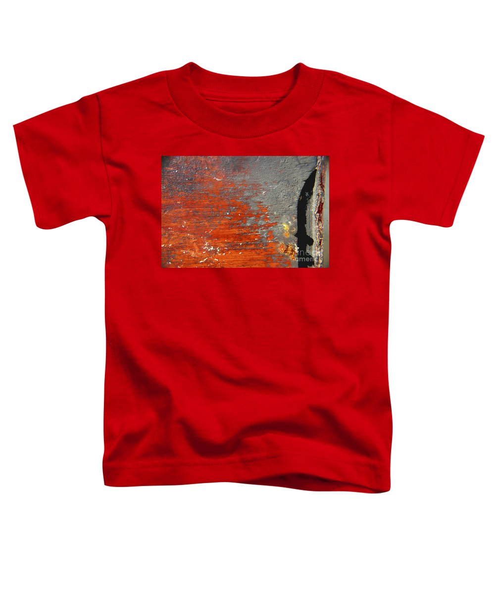 Red Toddler T-Shirt featuring the photograph Red And Grey Abstract by Hana Shalom