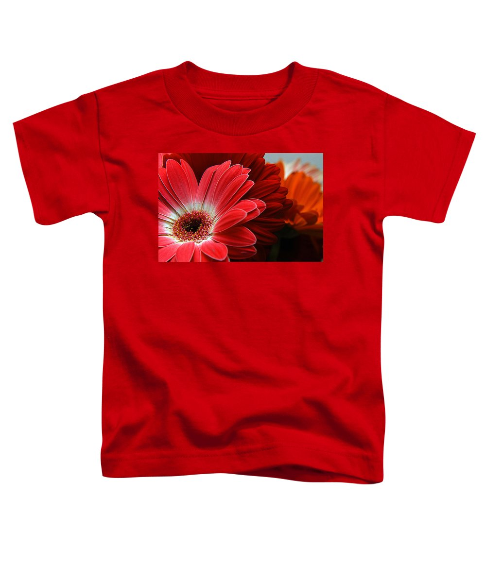 Clay Toddler T-Shirt featuring the photograph Red And Orange Florals by Clayton Bruster