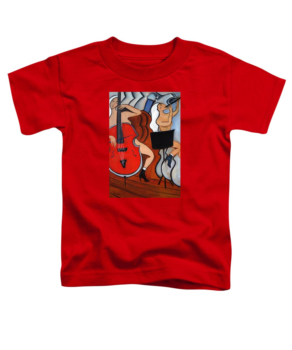 Cubic Abstract Toddler T-Shirt featuring the painting Red Cello 2 by Valerie Vescovi