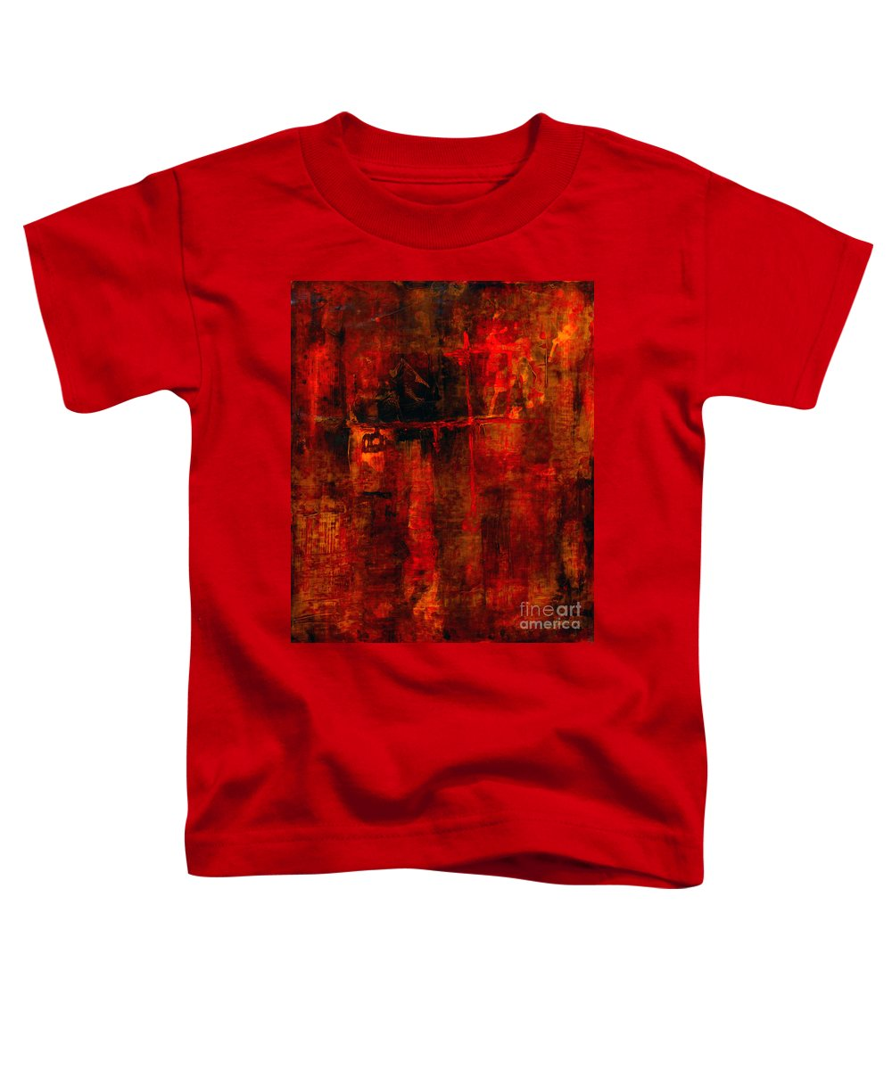 Abstract Painting Toddler T-Shirt featuring the painting Red Odyssey by Pat Saunders-White