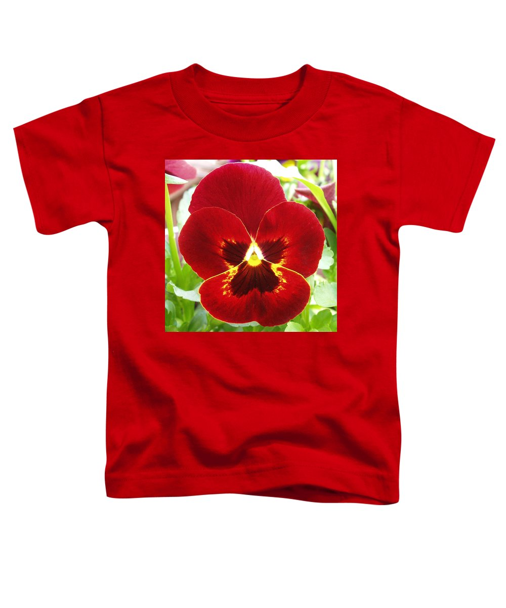 Red Toddler T-Shirt featuring the photograph Red Pansy by Nancy Mueller