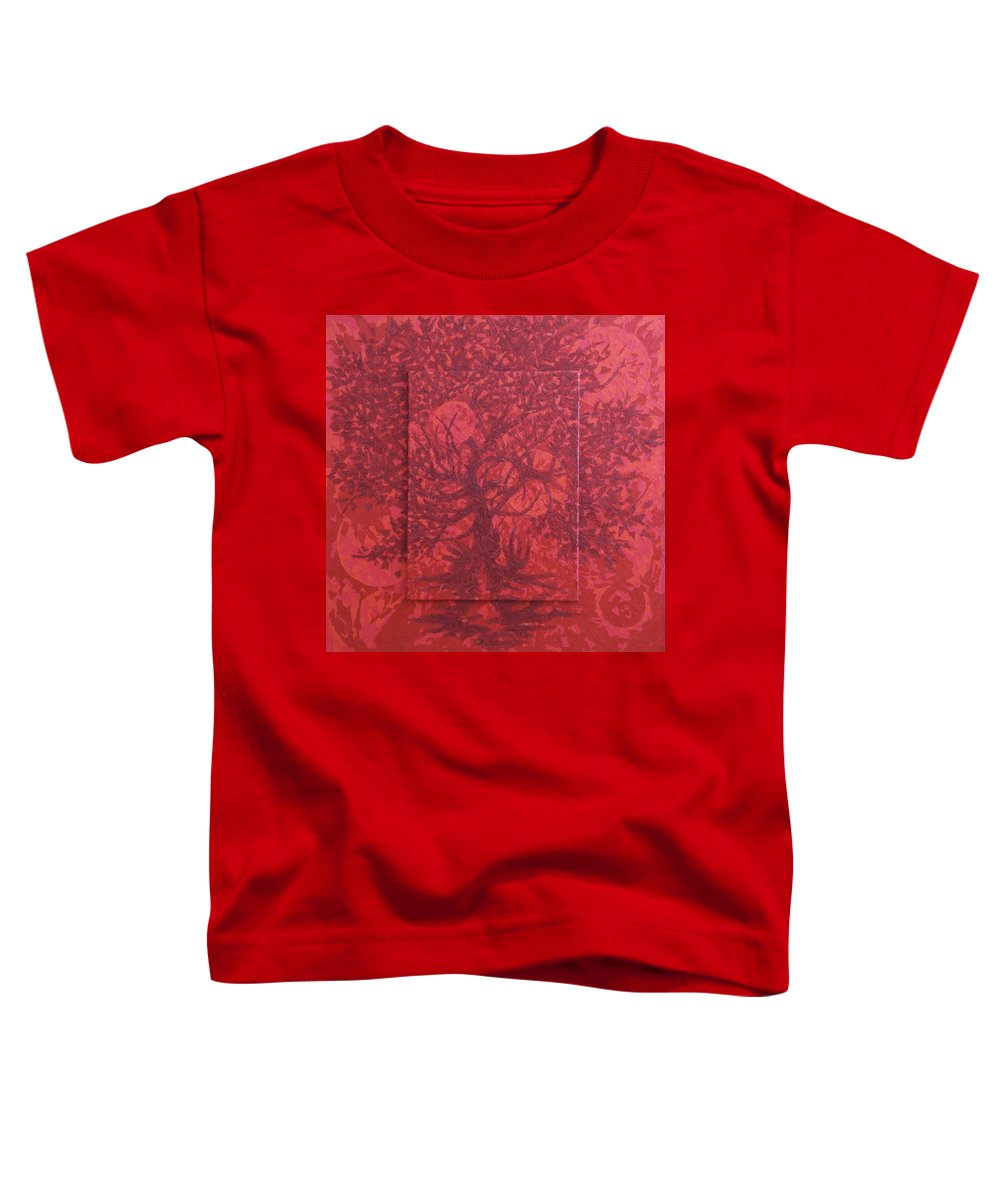 Red Toddler T-Shirt featuring the painting Red Planet by Judy Henninger
