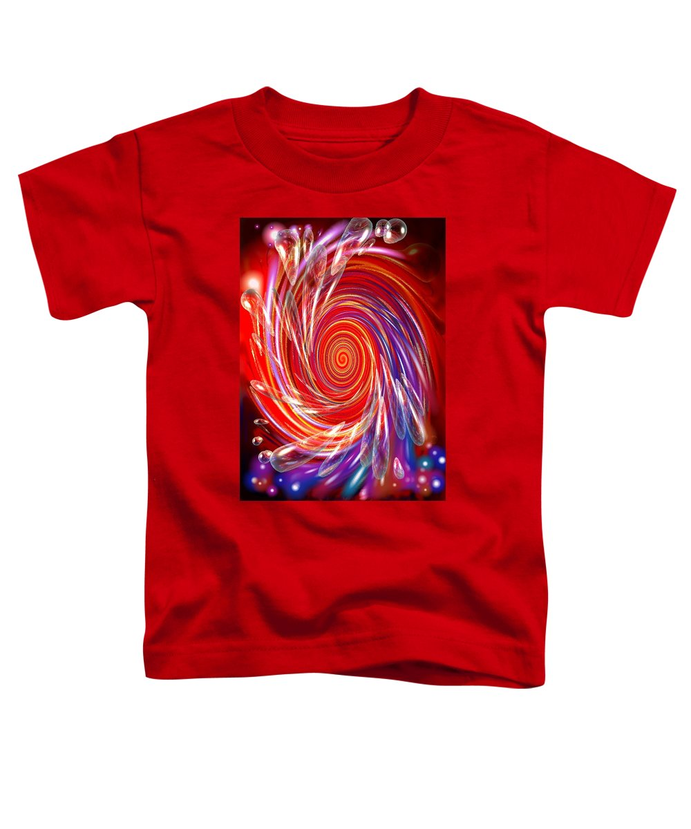 Red Toddler T-Shirt featuring the digital art Red Twirl by Natalie Holland