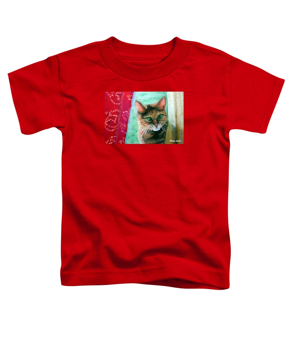 Cat Toddler T-Shirt featuring the painting Rosy In Color by Minaz Jantz