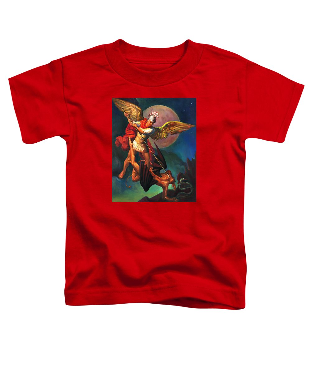 Bible Toddler T-Shirt featuring the painting Saint Michael The Warrior Archangel by Svitozar Nenyuk