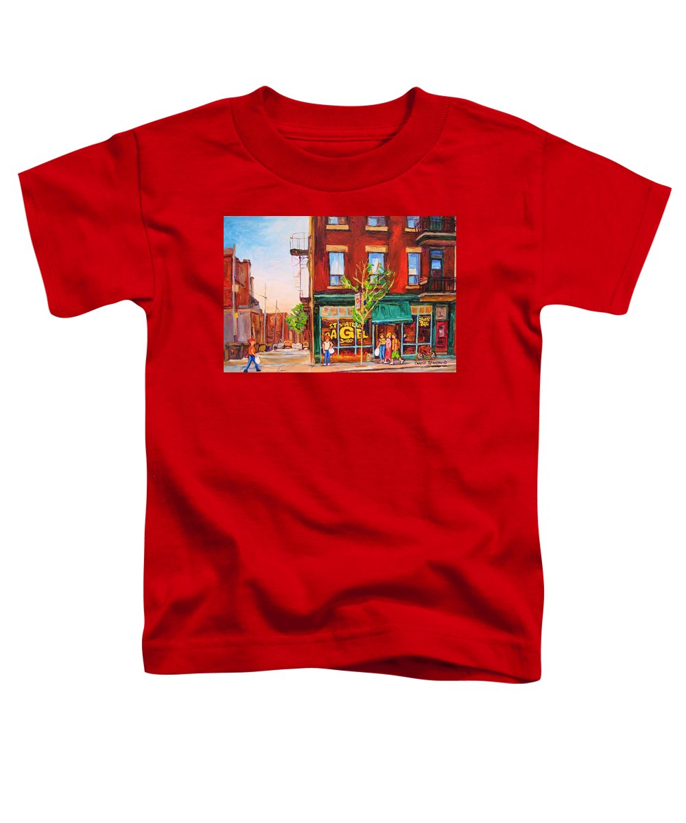 Montreal Toddler T-Shirt featuring the painting Saint Viateur Bagel by Carole Spandau