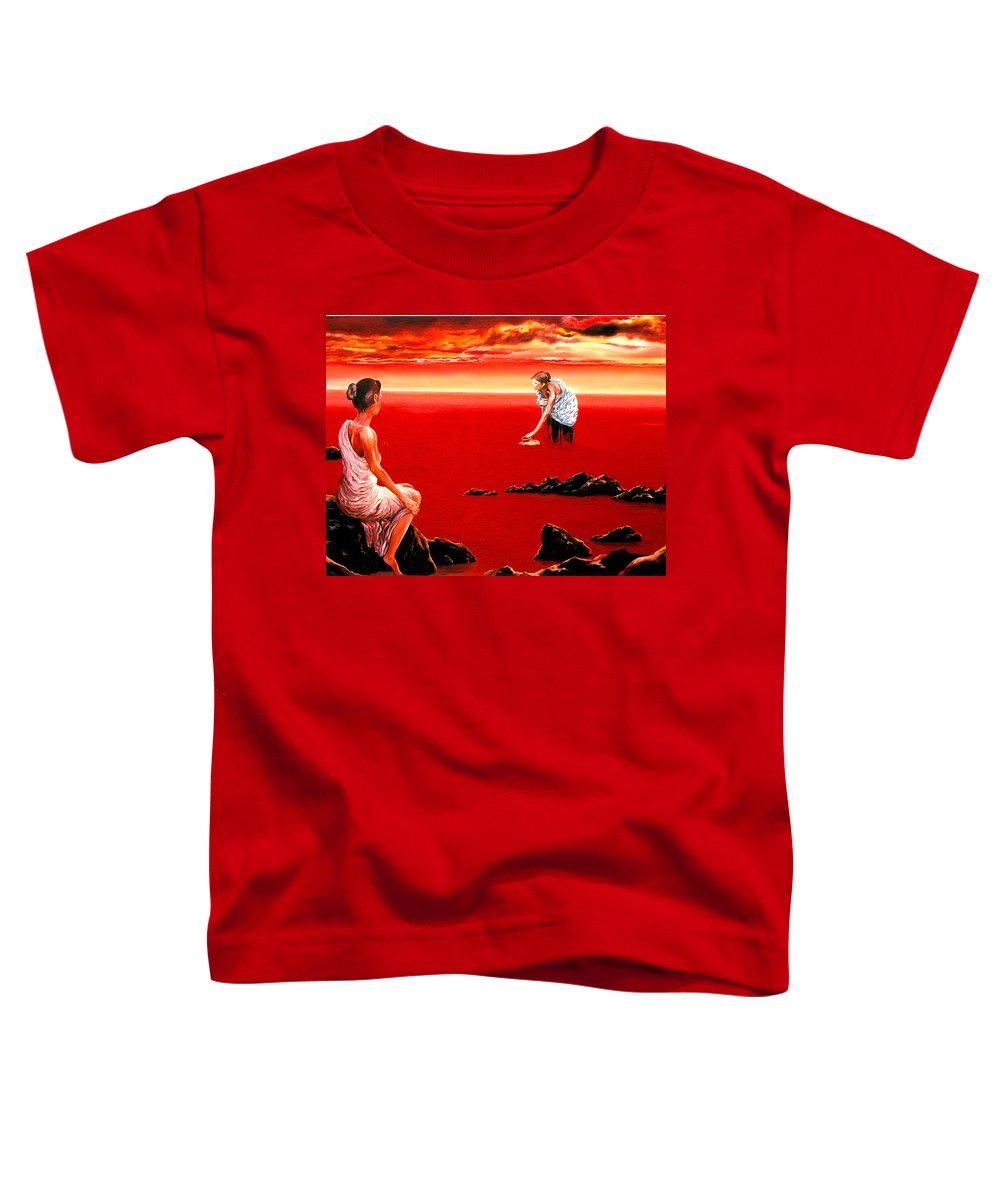 Red Toddler T-Shirt featuring the painting Scarlet Evening In December by Mark Cawood