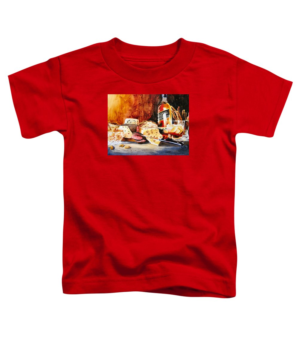 Scotch Toddler T-Shirt featuring the painting Spirited Indulgences by Karen Stark