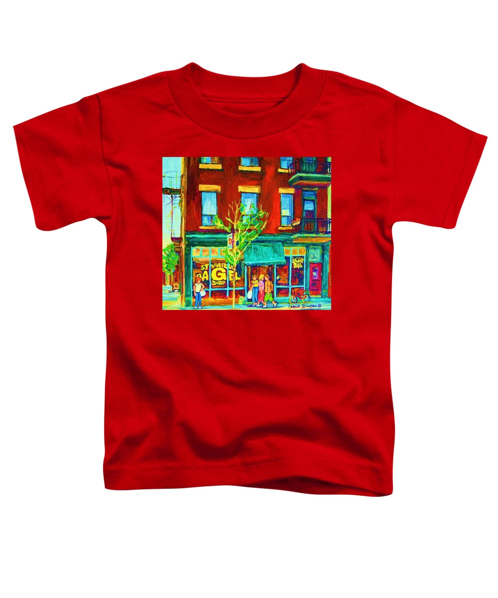 St. Viateur Bagel Shop Toddler T-Shirt featuring the painting St Viateur Bagel Shop by Carole Spandau