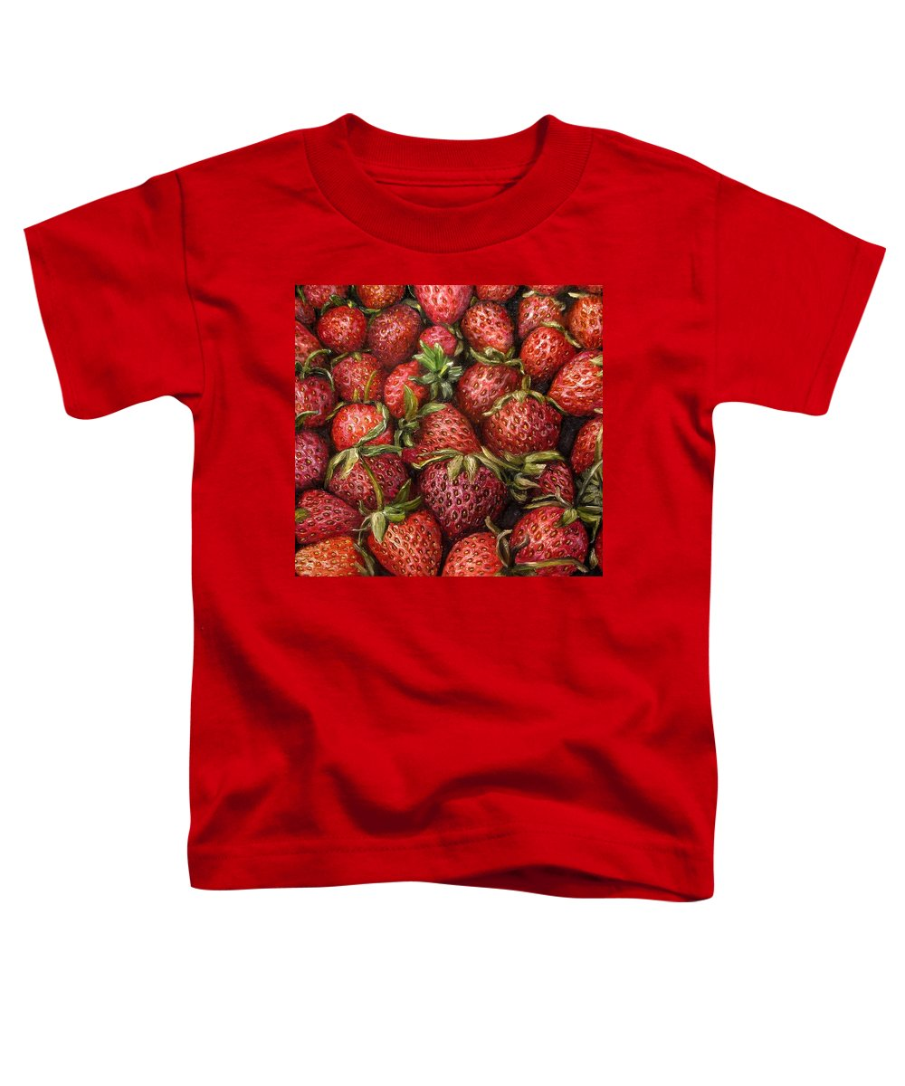 Strawberries Toddler T-Shirt featuring the painting Strawberries -2 Contemporary Oil Painting by Natalja Picugina