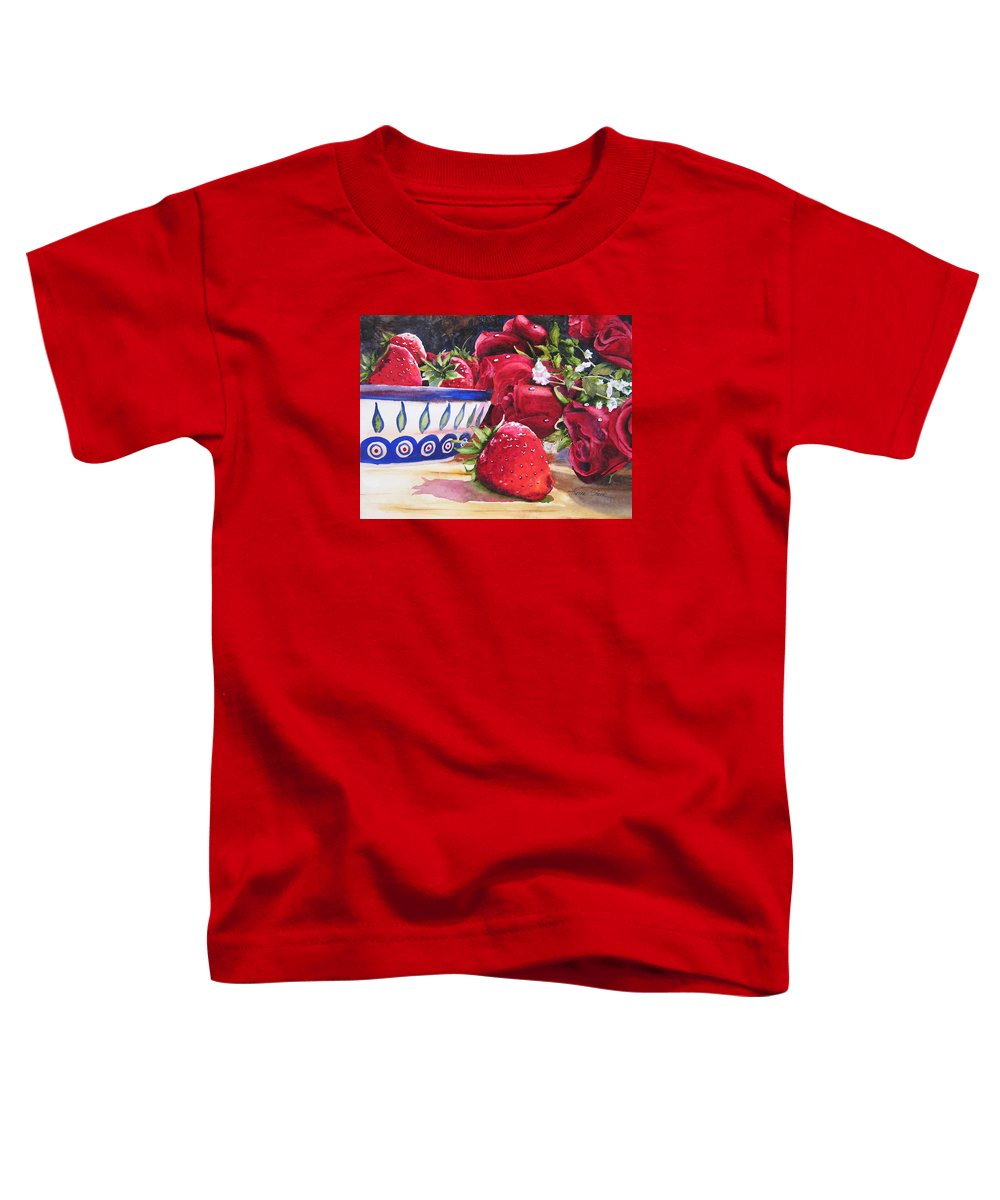 Strawberries Toddler T-Shirt featuring the painting Strawberries And Roses by Karen Stark