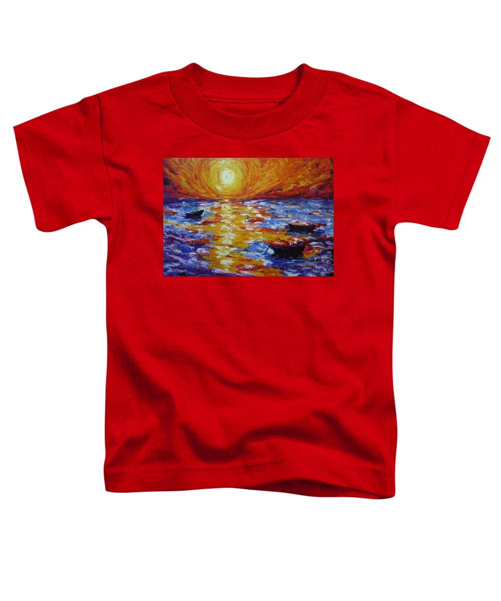 Landscape Toddler T-Shirt featuring the painting Sunset With Three Boats by Ericka Herazo