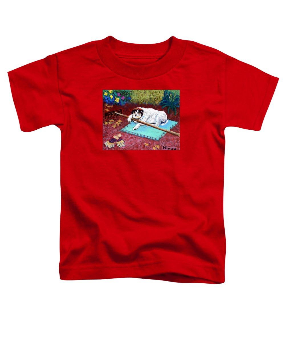 Dog Toddler T-Shirt featuring the painting Take A Break by Minaz Jantz