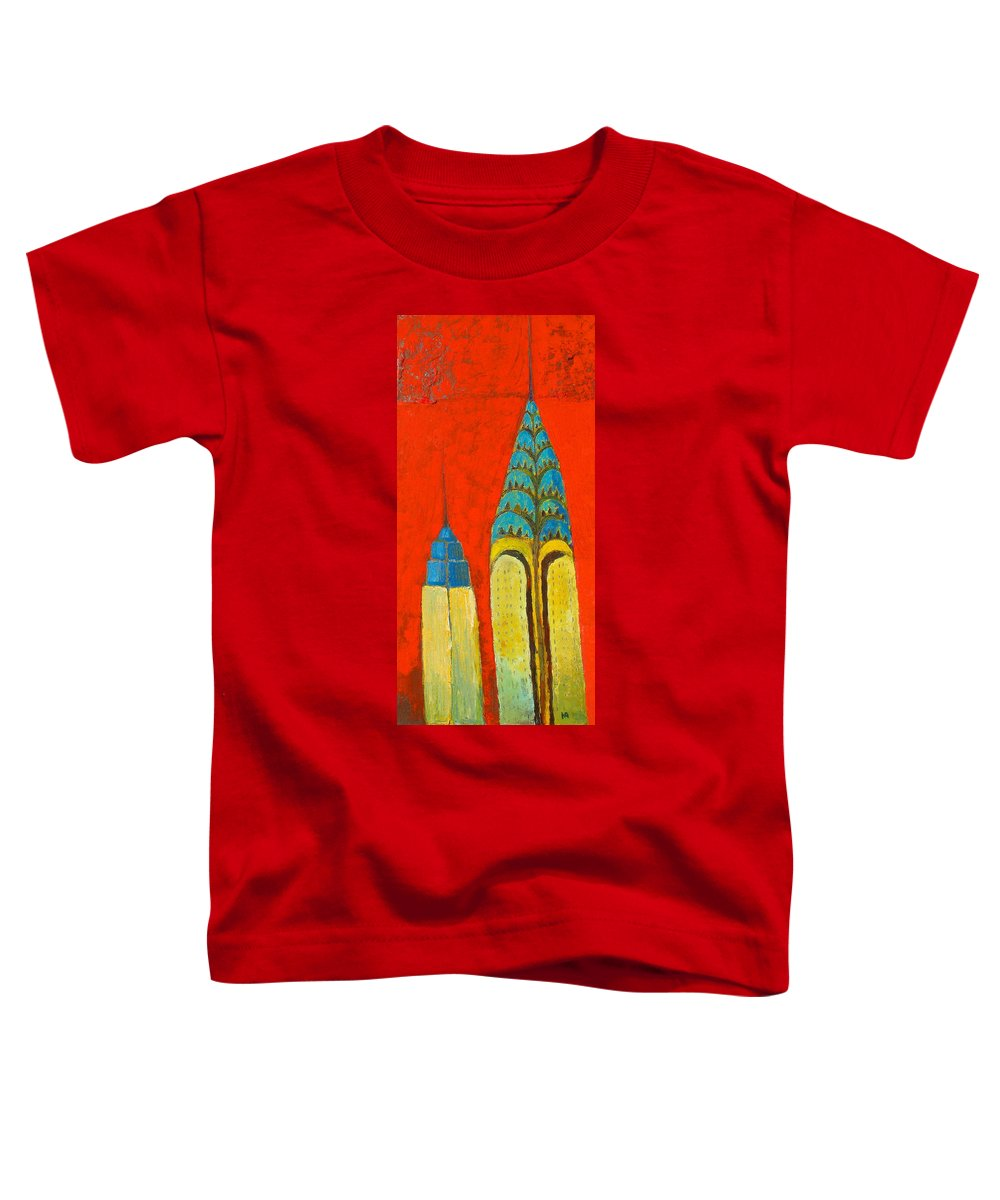 Toddler T-Shirt featuring the painting The Chrysler And The Empire State by Habib Ayat