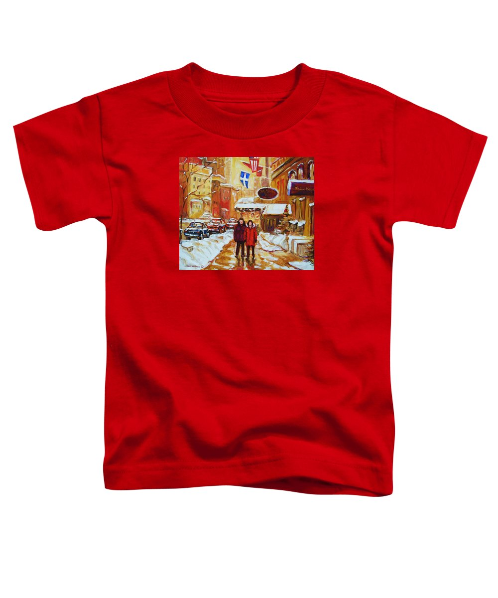 Streetscene Toddler T-Shirt featuring the painting The Ritz Carlton by Carole Spandau