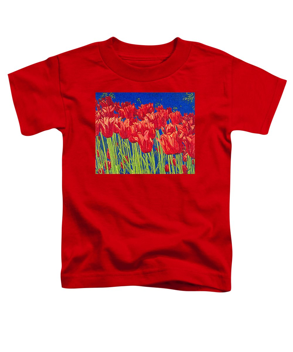 Tulips Toddler T-Shirt featuring the drawing Tulips Tulip Flowers Fine Art Print Giclee High Quality Exceptional Color Garden Nature Botanical by Baslee Troutman