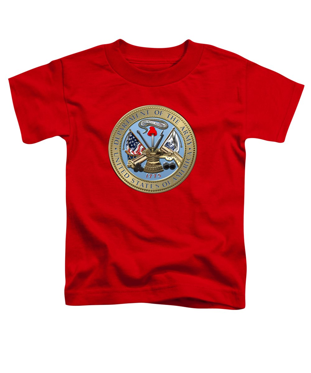 'military Insignia & Heraldry 3d' Collection By Serge Averbukh Toddler T-Shirt featuring the digital art U. S. Army Seal Over Red Velvet by Serge Averbukh