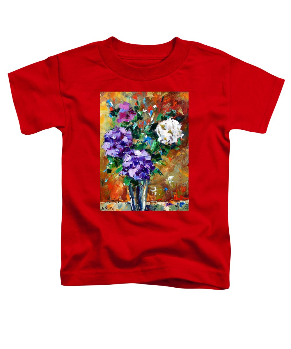 Flowers Toddler T-Shirt featuring the painting Vase Of Color by Debra Hurd