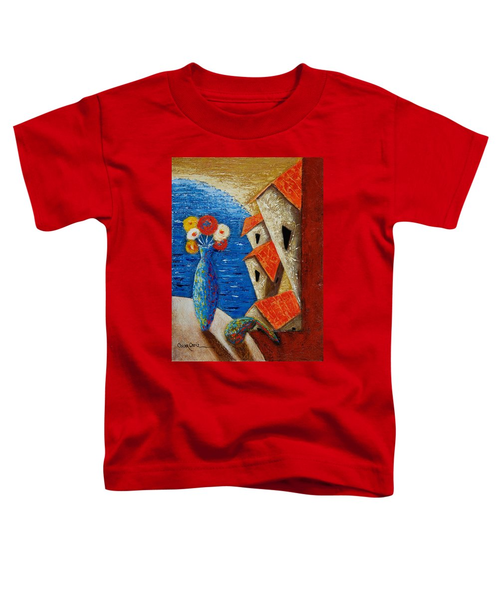 Landscape Toddler T-Shirt featuring the painting Ventana Al Mar by Oscar Ortiz