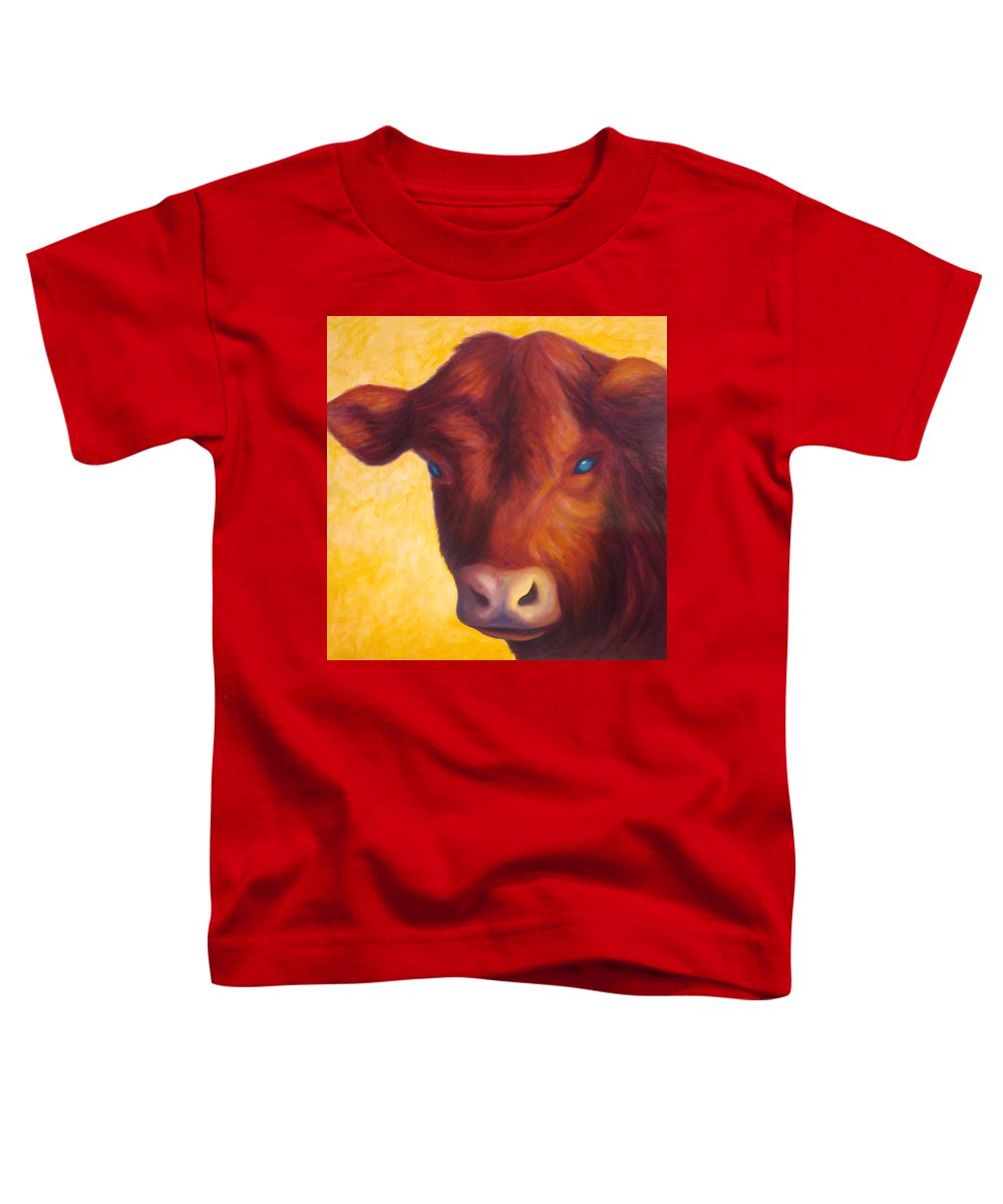 Bull Toddler T-Shirt featuring the painting Vern by Shannon Grissom