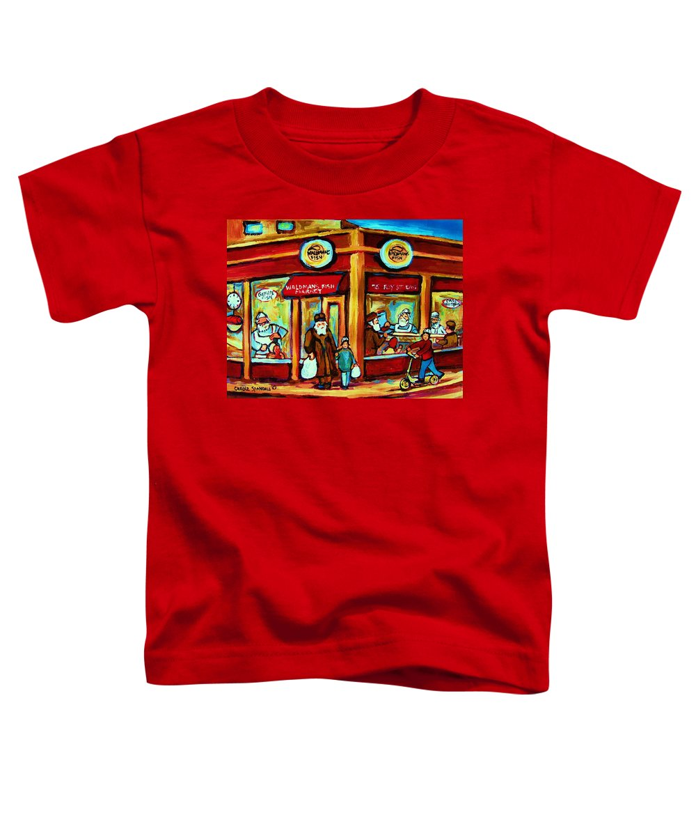 Montreal Toddler T-Shirt featuring the painting Waldmans In Montreal by Carole Spandau