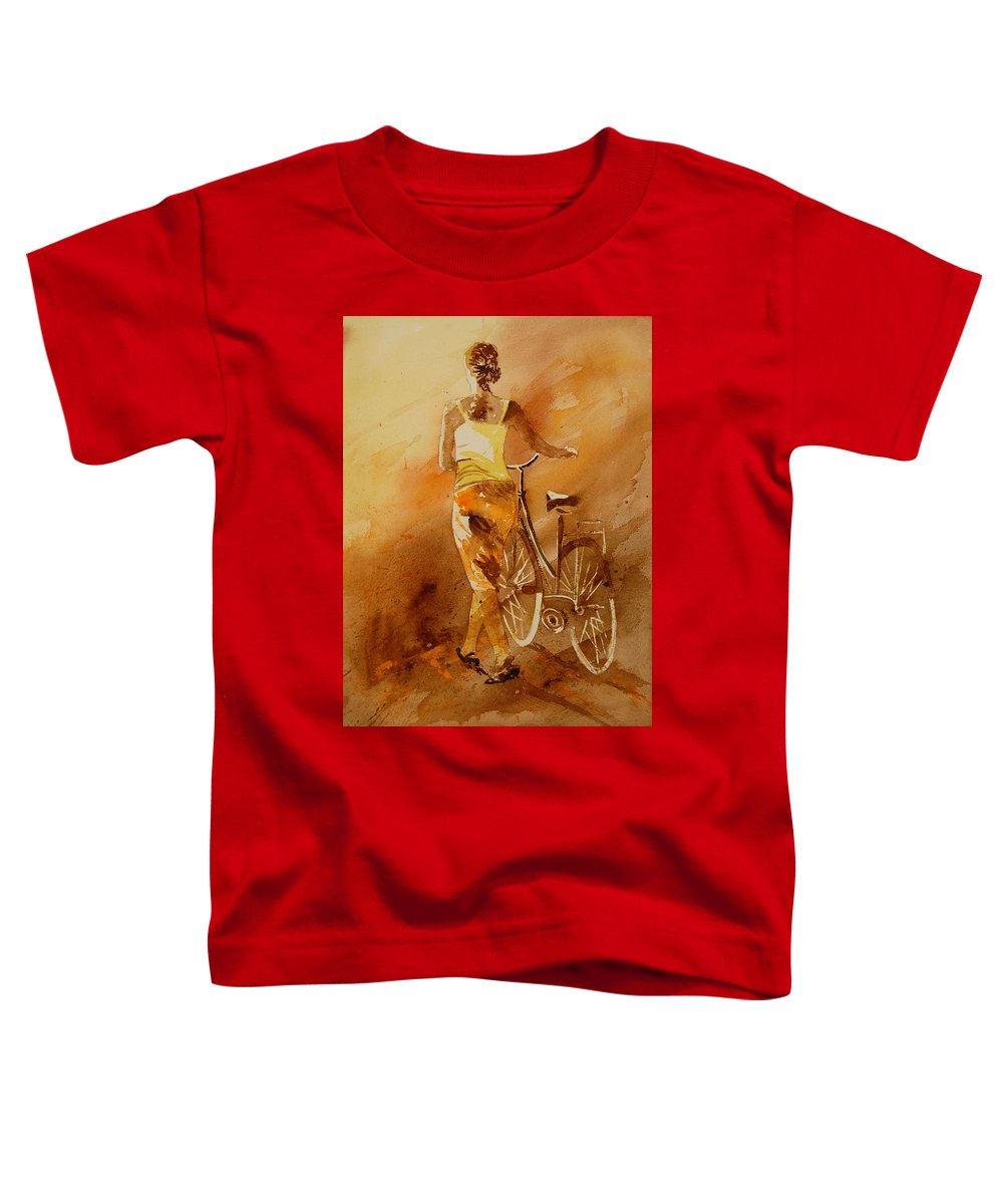 Figurative Toddler T-Shirt featuring the painting Watercolor With My Bike by Pol Ledent