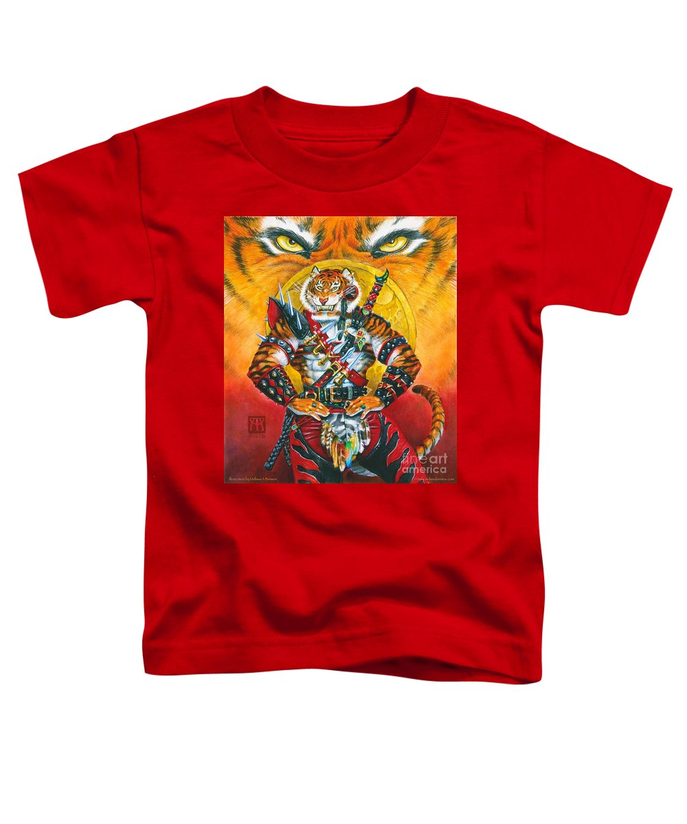 Fantasy Toddler T-Shirt featuring the painting Werecat Warrior by Melissa A Benson