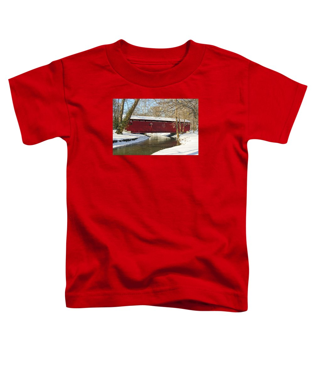 Covered Bridge Toddler T-Shirt featuring the photograph Winter Bridge by Margie Wildblood