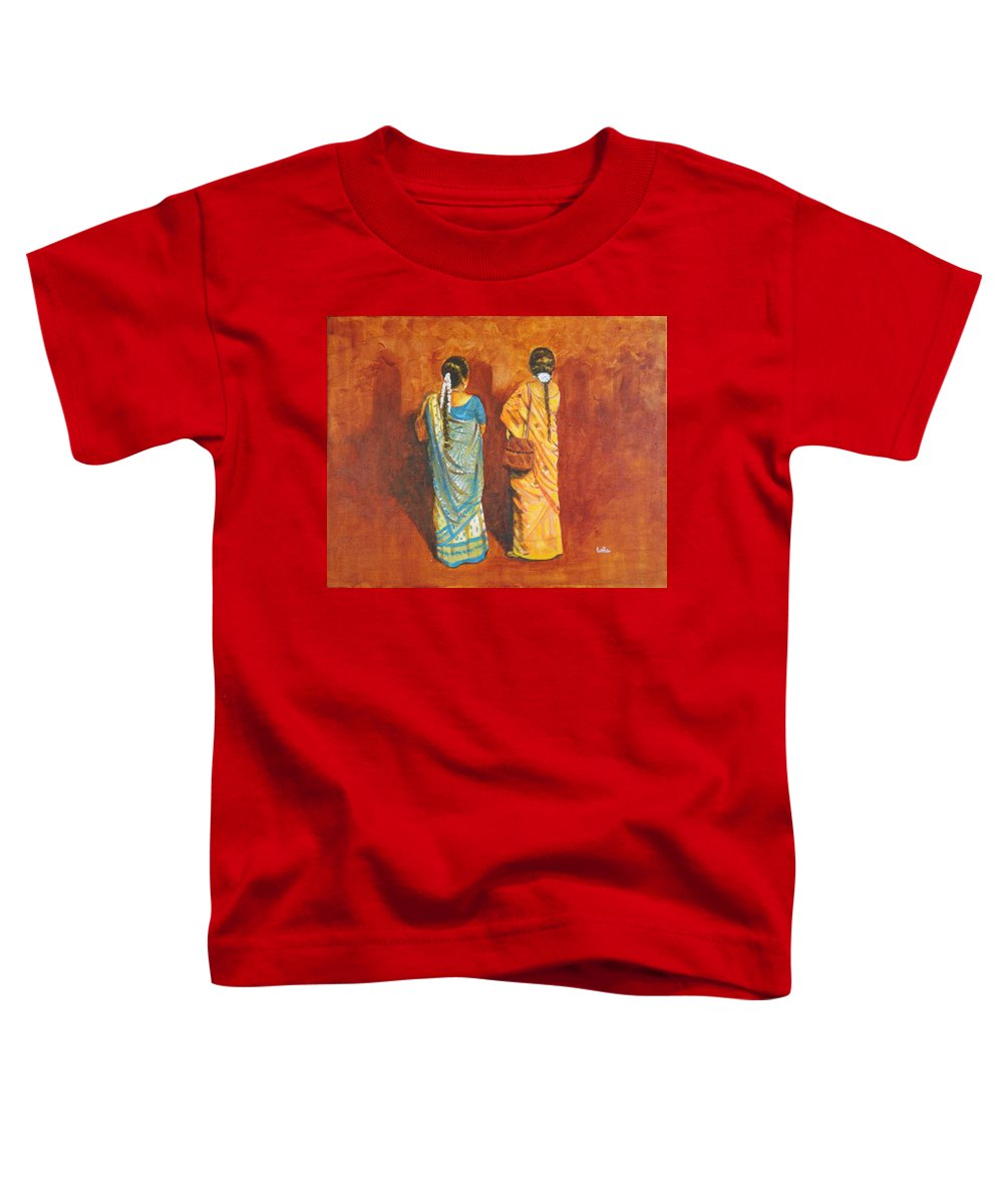 Women Toddler T-Shirt featuring the painting Women In Sarees by Usha Shantharam