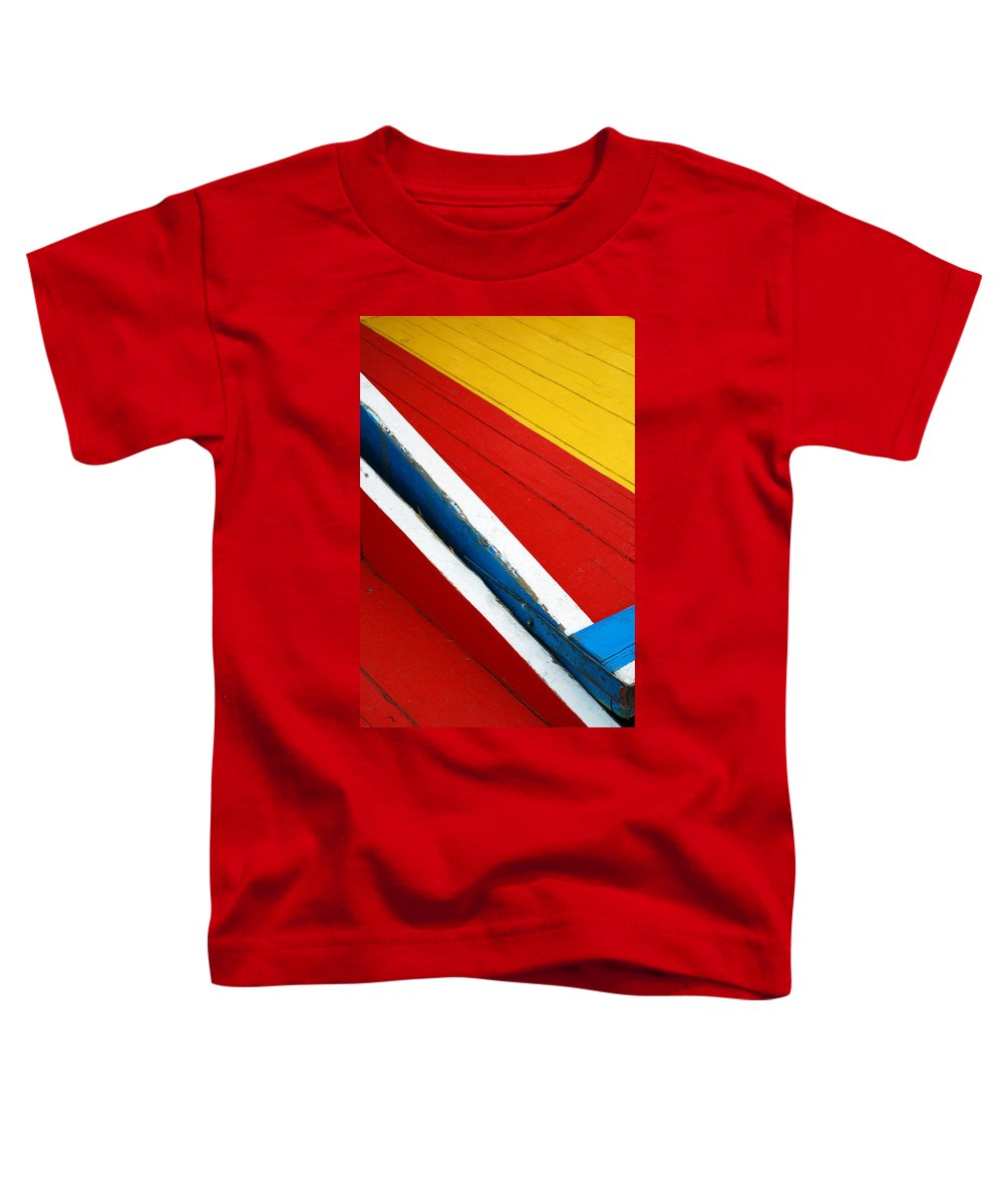 Red Toddler T-Shirt featuring the photograph Xochimilco Boat Abstract 1 by Skip Hunt