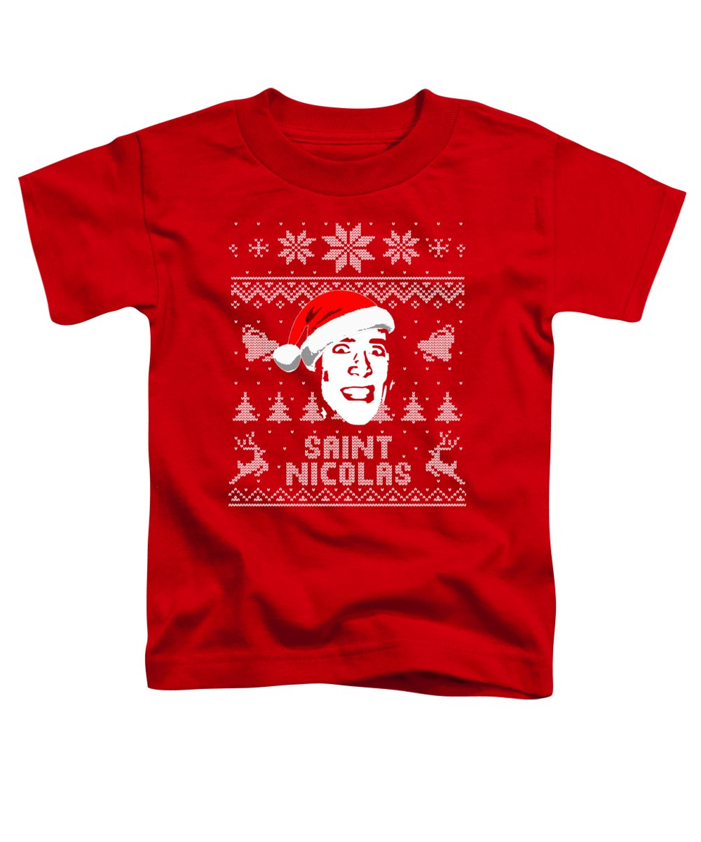 Nicolas Toddler T-Shirt featuring the digital art Nicolas Cage Saint Nicolas Christmas Shirt by Filip Schpindel
