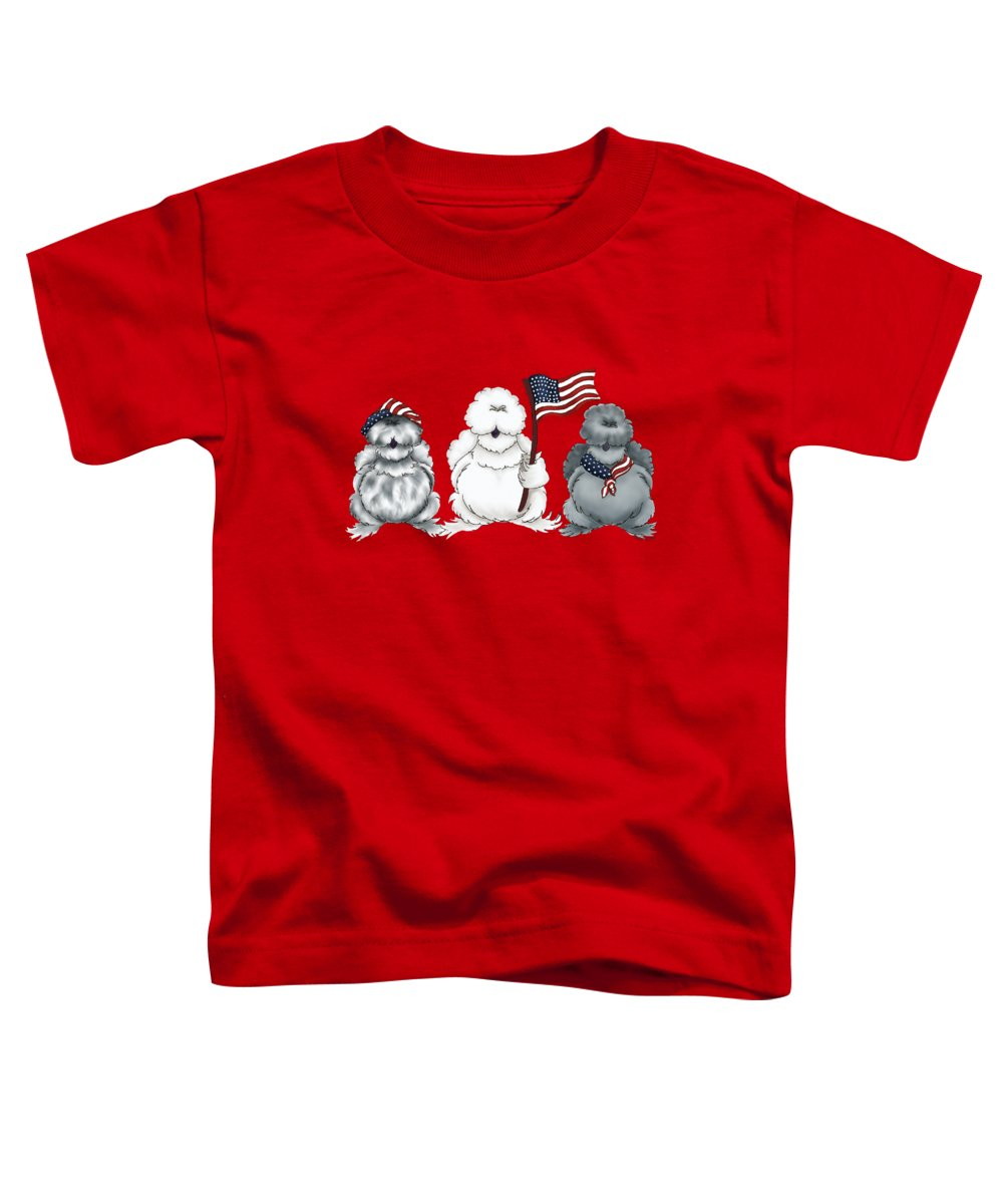 Silkies Toddler T-Shirt featuring the digital art Patriotic Silkies by Chickenzoo Art