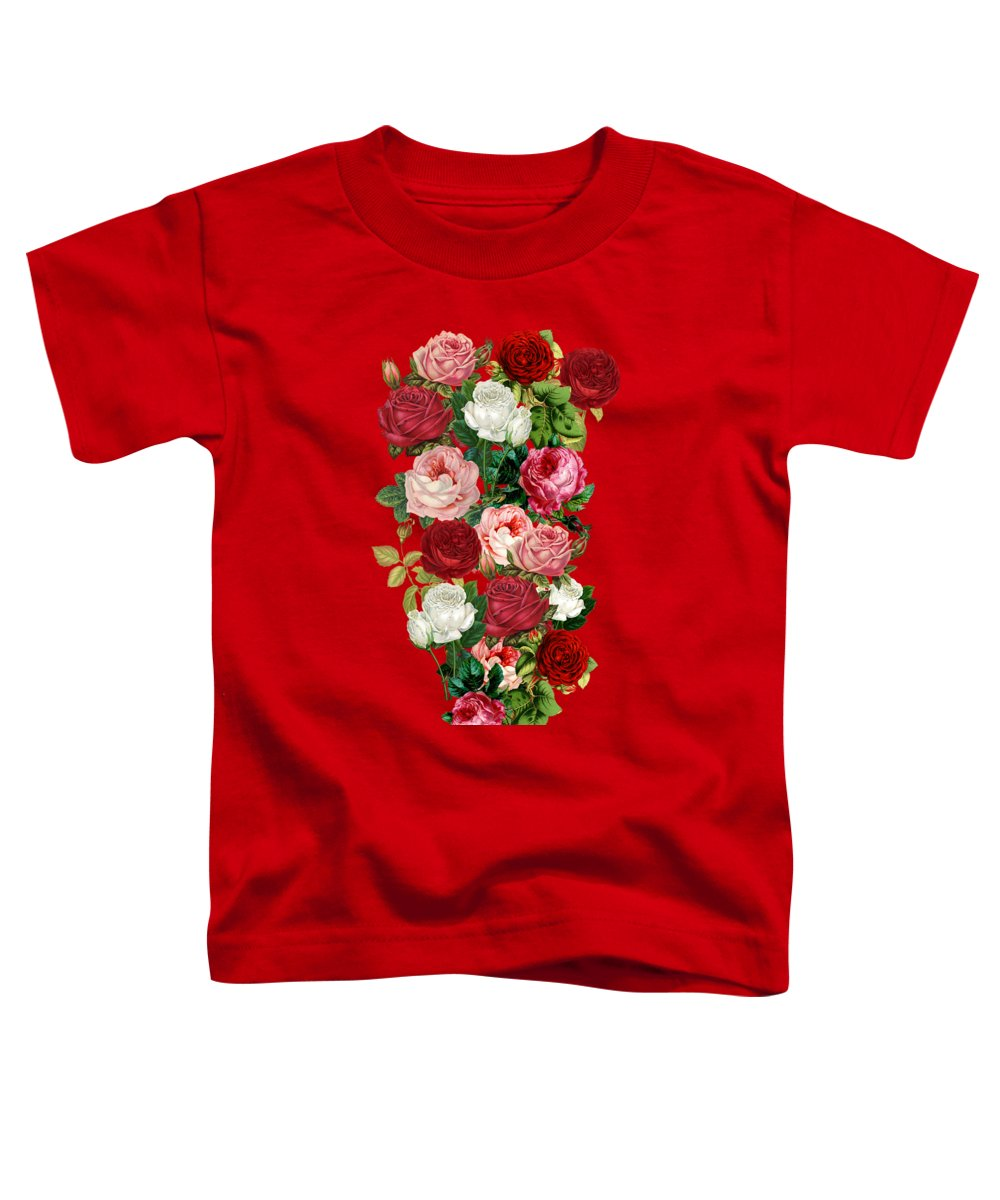 Gravityx9 Toddler T-Shirt featuring the mixed media Vintage Flowers by Gravityx9 Designs
