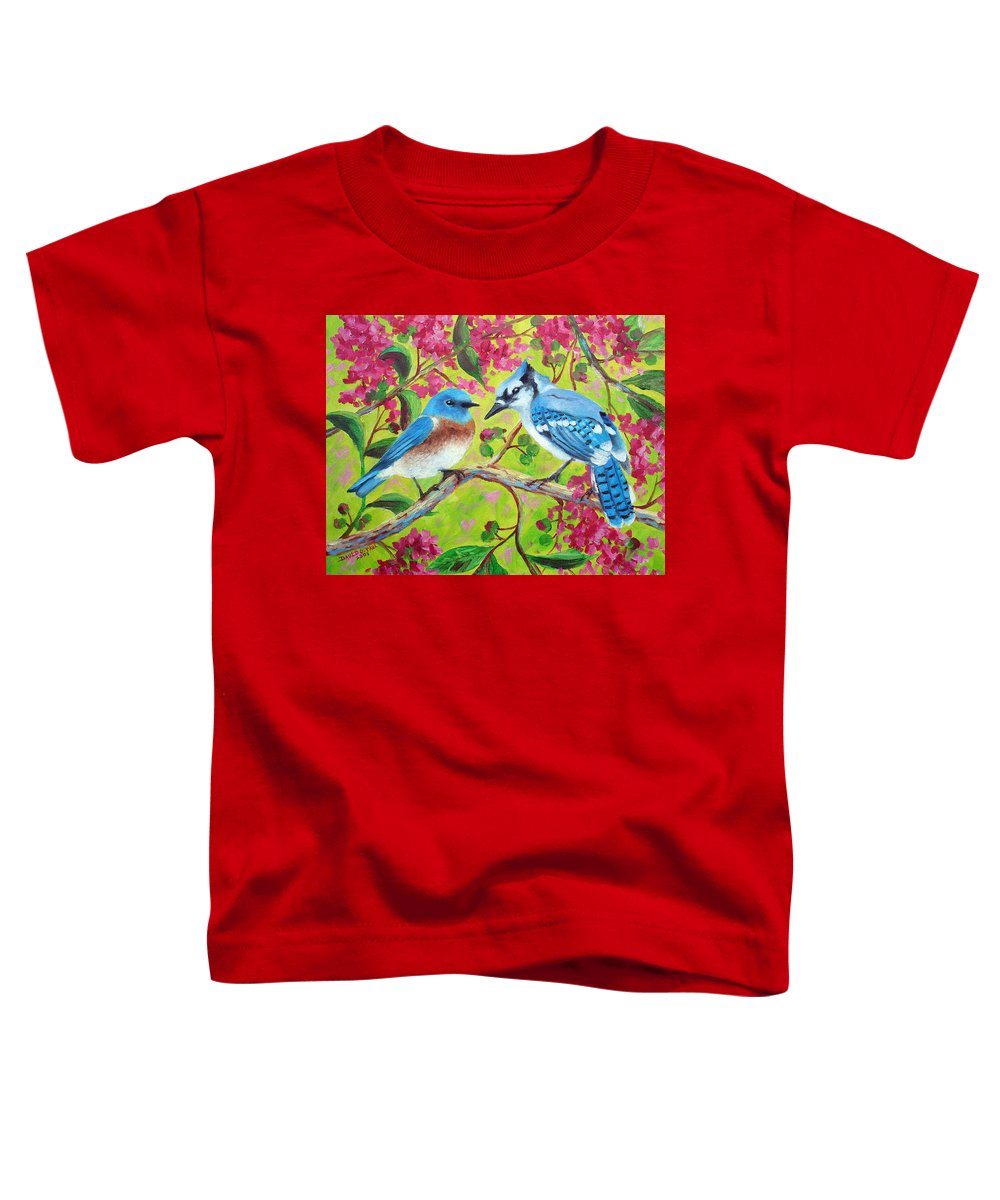Birds Toddler T-Shirt featuring the painting Sharing A Branch by David G Paul