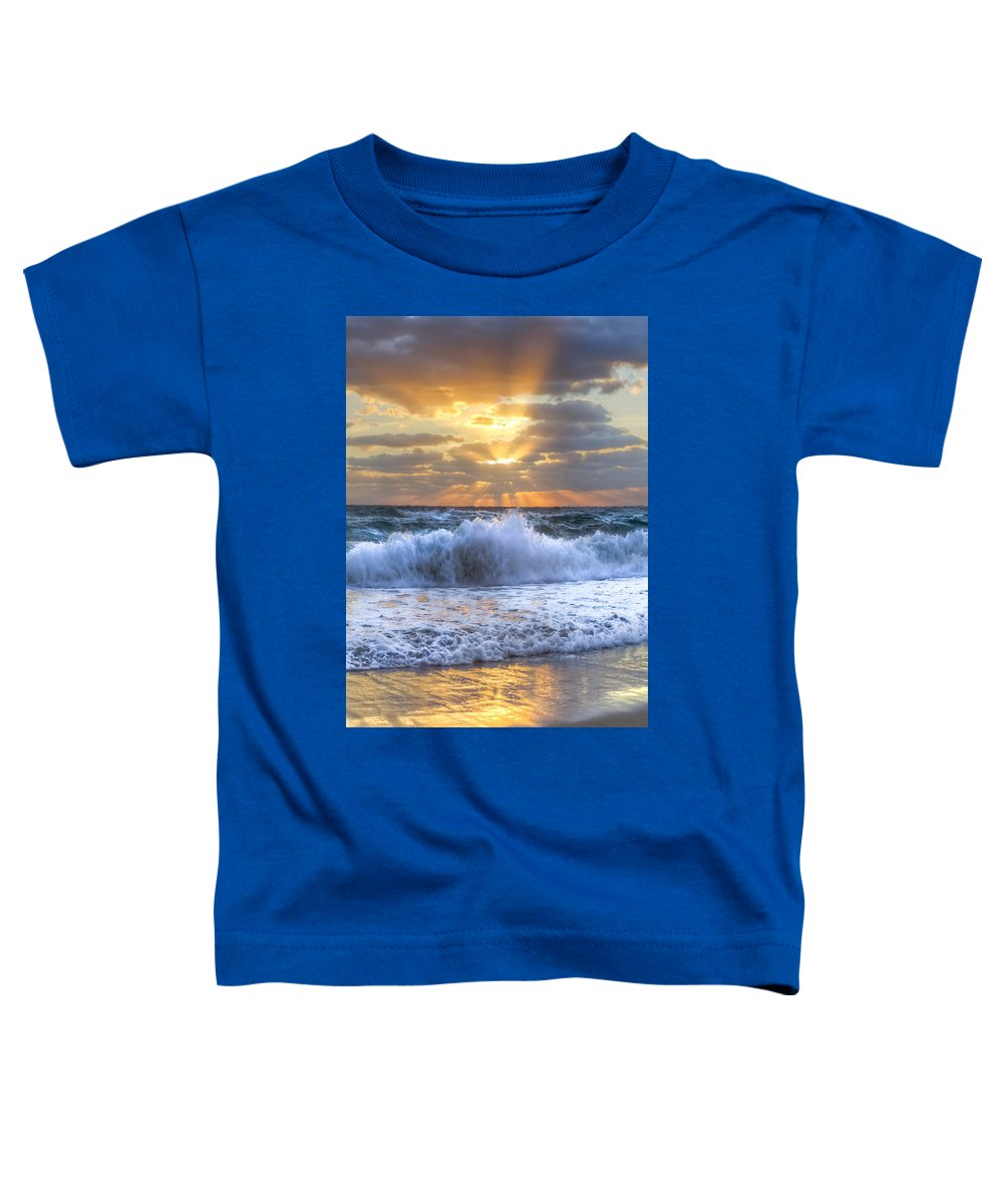 Boats Toddler T-Shirt featuring the photograph Splash Sunrise by Debra and Dave Vanderlaan
