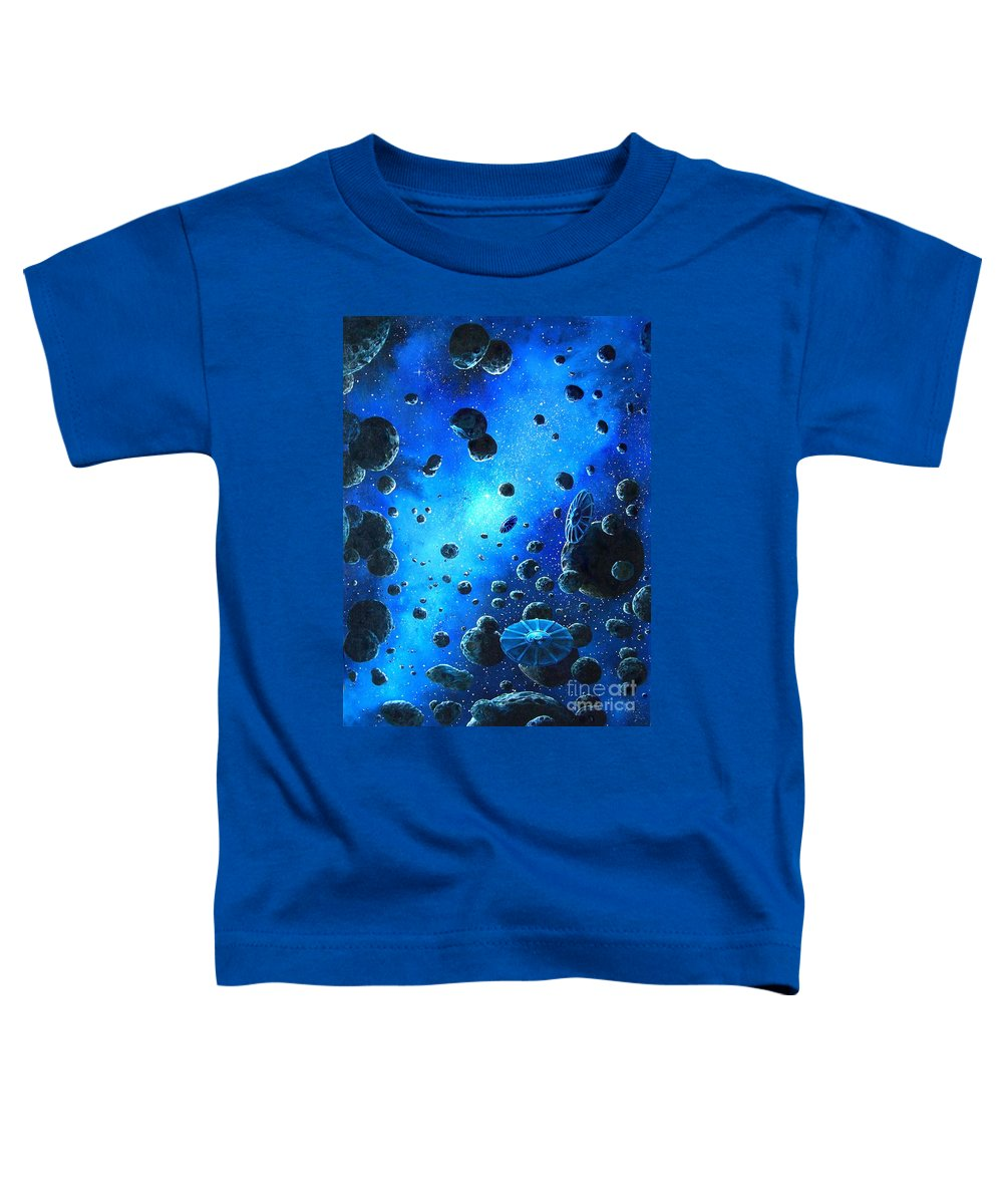 (space Ships) Toddler T-Shirt featuring the painting Alien Flying Saucers by Murphy Elliott