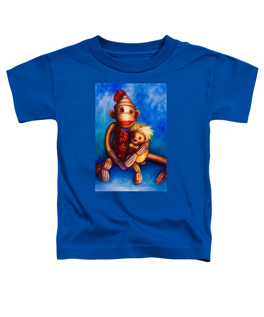 Sock Monkeys Brown Toddler T-Shirt featuring the painting Buddies by Shannon Grissom