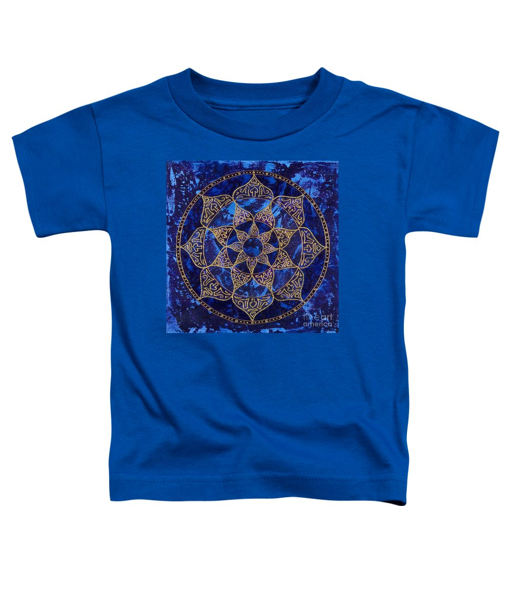 Mandala Toddler T-Shirt featuring the painting Cosmic Blue Lotus by Charlotte Backman