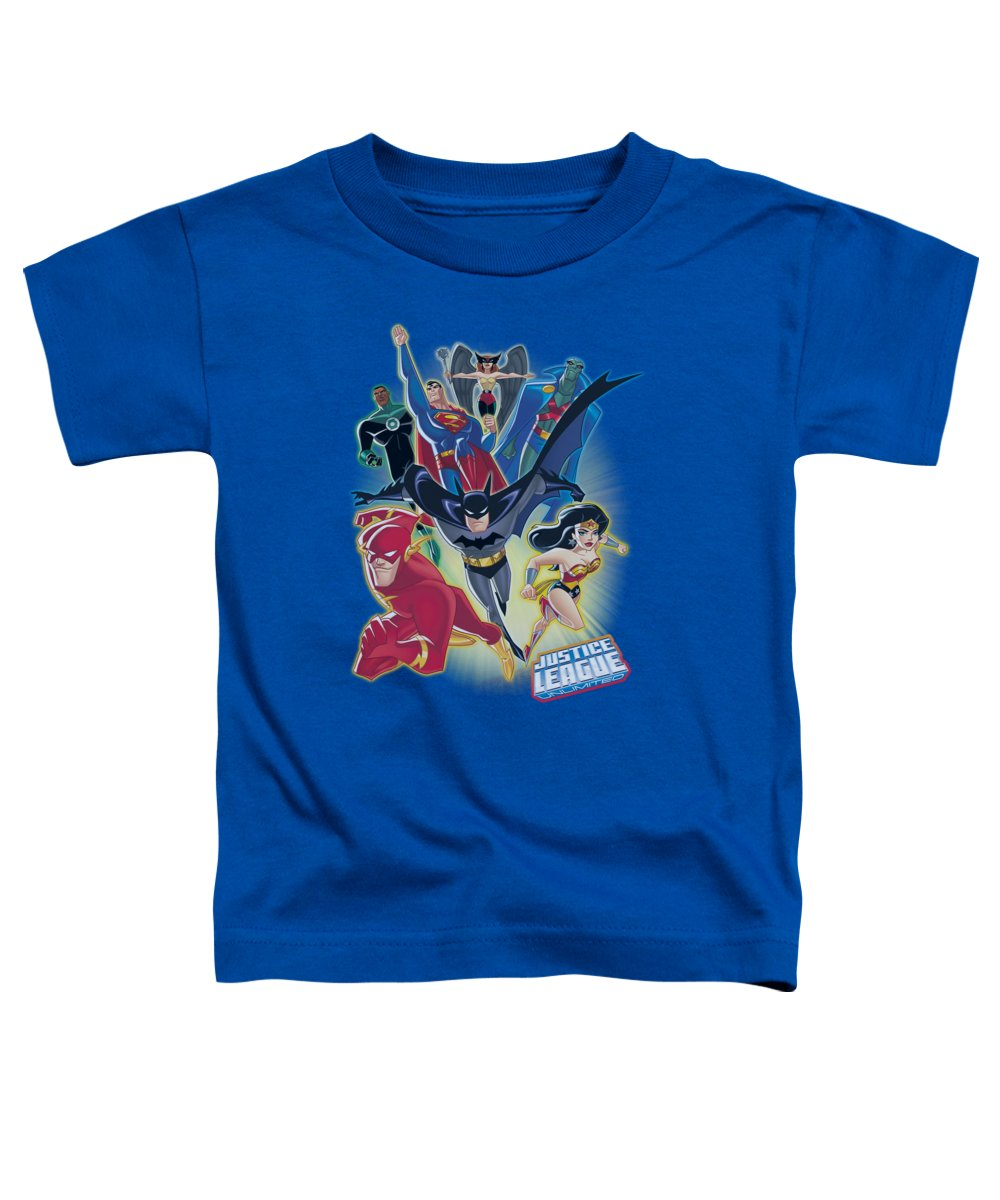 Justice League Of America Toddler T-Shirt featuring the digital art Jla - Unlimited by Brand A
