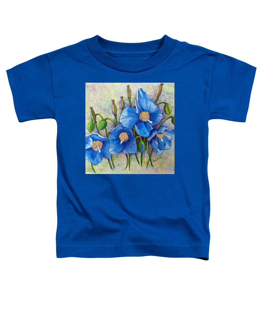 Blue Hymalayan Poppy Toddler T-Shirt featuring the painting Meconopsis  Himalayan Blue Poppy by Karin Dawn Kelshall- Best